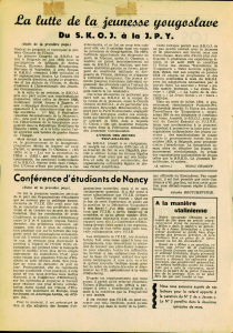 Jeunes de France Yougoslavie - notre camarade Chauvin
