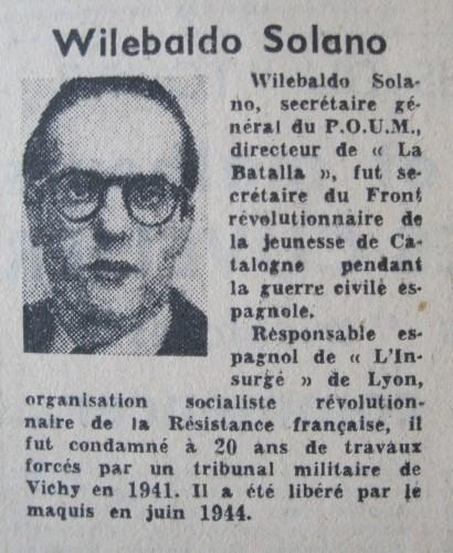 """Portrait de Solano dans """"La Gauche"""", journal du RDR, 1949"""