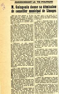 15 janvier 1953 démission Georges Guingoin conseil municipal Limoges