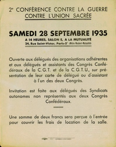 1935 tract contre l'Union Sacrée verso