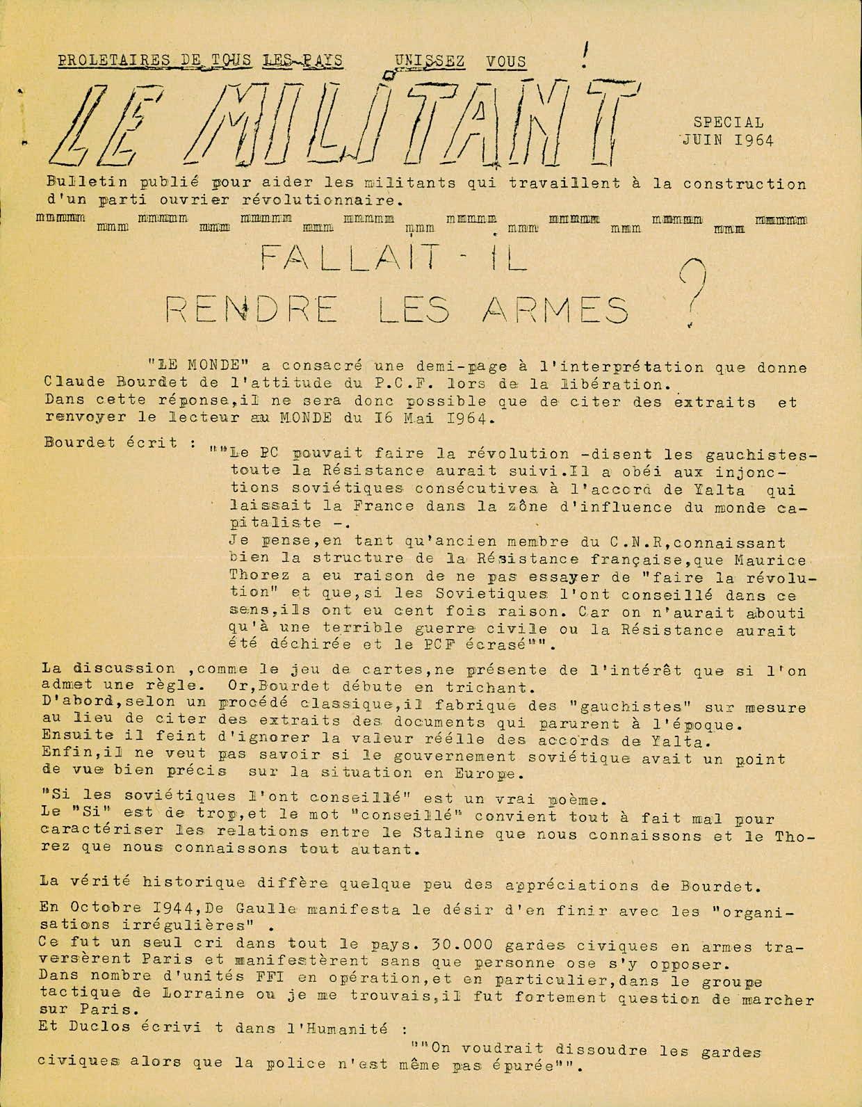 Le militant juin 1964 - 1
