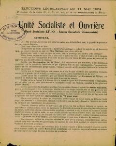 Elections legislatives 11 mai 1924 - tract cartel des gauche page 1