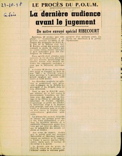 Jugement POUM 1938