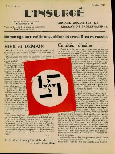 L'insurgé - publication clandestine Lyon - octobre 1942