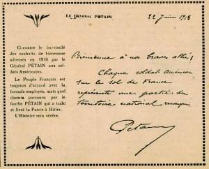 Facsimilé accueil des américains par Pétain juin 1918
