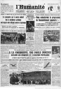 L'Humanité 1936 - grève sur le tas dans les usines