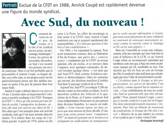 Dossier Politis 1996 Nouveau syndicalisme - Annick Coupé