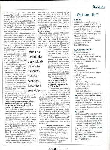 Politis 28 novembre 1996 - Dossier Nouveau Syndicalisme