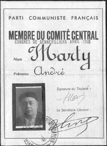 Carte de membre du comité central du PCF 1950 André Marty - Fonds CHS