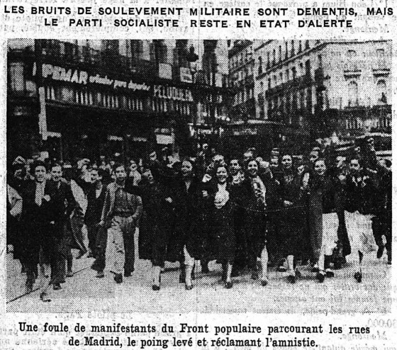 Photos manifestant-es Madrid - 20 février 1936 Le Populaire